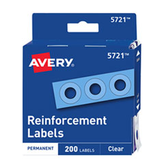 Avery Dispenser Pack Hole Reinforcements, 1/4  Dia, Clear, 200/Pack