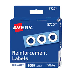 Avery Dispenser Pack Hole Reinforcements, 1/4  Dia, White, 1000/Pack