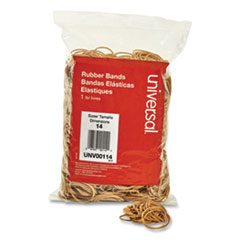 "Rubber Bands, Size 14, 0.04"" Gauge, Beige, 1 lb Box, 2,200/Pack"