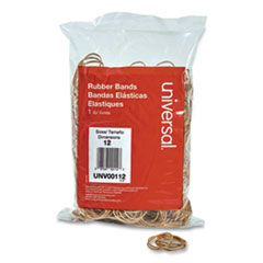 "Rubber Bands, Size 12, 0.04"" Gauge, Beige, 1 lb Box, 2,500/Pack"