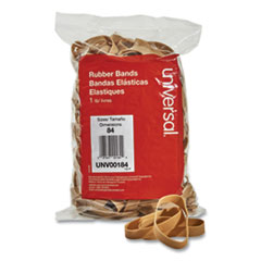 "Rubber Bands, Size 84, 0.04"" Gauge, Beige, 1 lb Box, 155/Pack"