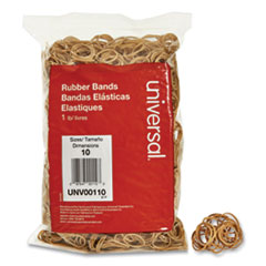 "Rubber Bands, Size 10, 0.04"" Gauge, Beige, 1 lb Box, 3,400/Pack"