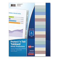 Protect 'n Tab Top-Load Clear Sheet Protectors w/Five Tabs, Letter