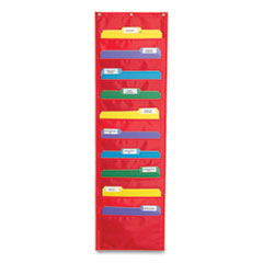 Storage Pocket Chart with Ten 13.5 x 7 Pockets, Hanger Grommets, 14 x 47