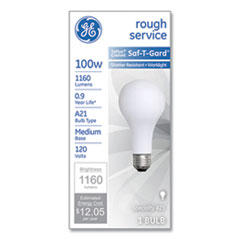 Rough Service Incandescent Worklight Bulb, A21, 100 W, 1,160 lm