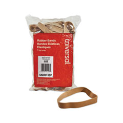 "Rubber Bands, Size 107, 0.06"" Gauge, Beige, 1 lb Box, 40/Pack"