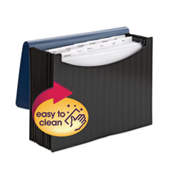 "12-Pocket Poly Expanding File, 0.88"" Expansion, 12 Sections, 1/6-Cut Tab, Letter Size, Black/Blue"