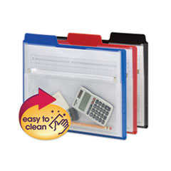 Poly Project Organizer with Zip Pouch, 2-Sections, 1/3-Cut Tab, Letter Size, Assorted Colors, 3/Pack