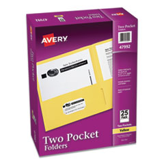 Two-Pocket Folder, 40-Sheet Capacity, Yellow, 25/Box