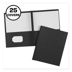 "Two-Pocket Folder, Prong Fastener, Letter, 1/2"" Capacity, Black, 25/Box"
