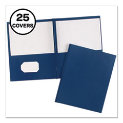 "Two-Pocket Folder, Prong Fastener, Letter, 1/2"" Capacity, Dark Blue, 25/Box"