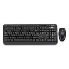 WKB-1320CB Antimicrobial Wireless Desktop Keyboard and Mouse, 2.4 GHz Frequency/30 ft Wireless Range, Black