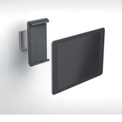 Wall-Mounted Tablet Holder, Silver/Charcoal Gray