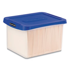 "Heavy Duty Plastic File Storage, Letter/Legal Files, 14"" x 17.38"" x 10.5"", Clear/Blue"