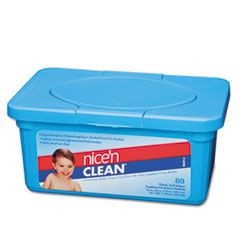 Nice 'N Clean Premium Baby Wipes, Scented, 7 x 8, White, 80/Tub, 12 Tubs/Carton