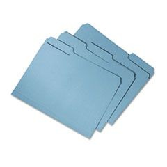 7530015664144 SKILCRAFT Recycled File Folders, 1/3-Cut 2-Ply Tabs, Letter Size, Blue, 100/Box