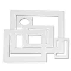 Pre-Cut Mat Frames for Photo/Art, 12 Mats/ 5 Asst Sizes, 60/Pack, White