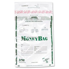 Plastic Money Bags, Tamper Evident, 9 x 12, Clear, 50/Pack