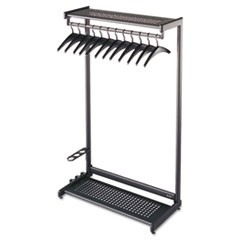 "Single-Sided Rack w/Two Shelves, 12 Hangers, Steel, 36"" Wide, Black"