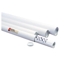 "White Mailing Tubes, 18"" Long, 2"" Diameter, White, 25/Carton"