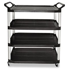 Open Sided Utility Cart, Four-Shelf, 40-5/8w x 20d x 51h, Black