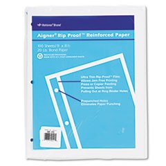 Rip Proof Reinforced Filler Paper, 3-Hole, 8.5 x 11, Unruled, 100/Pack