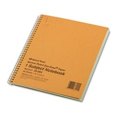 Subject Wirebound Notebook, Narrow Rule, 8 1/4 x 6 7/8, Green, 80 Sheets