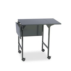 Mobile Machine Stand w/Drop Leaves, Two-Shelf, 36w x 18d x 26.75h, Black