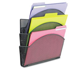 Onyx Magnetic Mesh Panel Accessories, 3 File Pocket, 13 x 4 1/3 x 13 1/2. Black
