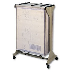 Mobile Plan Center Sheet Rack, 18 Hanging Clamps, 43 3/4 x 20 1/2 x 51, Sand