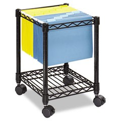 Safco Compact Mobile Wire File Cart, One-Shelf, 15.5W X 14D X 19.75H, Black