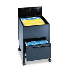 Safco Locking Mobile Tub File With Drawer, Legal Size, 20W X 25.5D X 27.75H, Black
