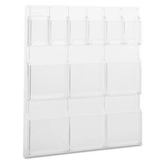 Reveal Clear Literature Displays, 12 Compartments, 30w x 2d x 34-3/4h, Clear