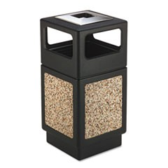 Canmeleon Ash/Trash Receptacle, Square, Aggregate/Polyethylene, 38 gal, Black
