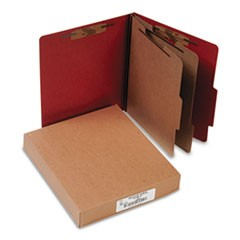 Pressboard 25-Pt Classification Folders, Letter, 6-Section, Earth Red, 10/Box