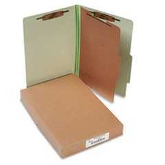Pressboard 25-Pt Classification Folders, Legal, 4-Section, Leaf Green, 10/Box