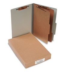 Pressboard 25-Pt Classification Folders, Legal, 6-Section, Mist Gray, 10/Box