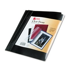 "Vinyl Report Cover, Prong Clip, Ltr, 1/2""Capacity, Clear Cover/Black Back, 10/PK"