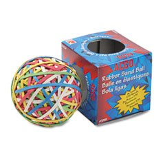 "Rubber Band Ball, 3.25"" Diameter, Size 34, Assorted Gauges, Assorted Colors, 270/Pack"