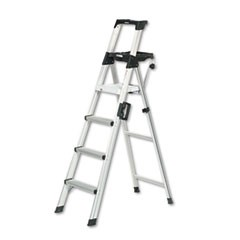 Signature Series Aluminum Step Ladder, 6 ft Working Height, 300 lbs Capacity, 4 Step, Aluminum