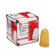 Rubber Finger Tips, 12 (Medium-Large), Amber, Dozen