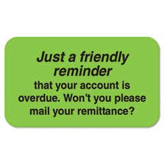 Medical Labels, Friendly Reminder, 7/8 x 1-1/2, Fluor Green, 250/Roll