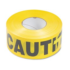 Caution Barricade Safety Tape, Yellow, 3w x 1000ft Roll