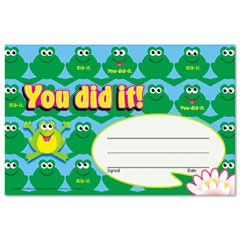 Recognition Awards, You Did It--Frogs, 8 1/2w by 5 1/2h, 30/Pack