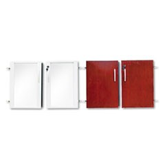 Doors for Veneer Low Wall Cabinet, 36w x 29-1/2h, Sierra Cherry/Glass, 4/Set