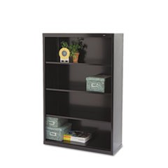Tennscometal Bookcase, Four-Shelf, 34-1/2W X 13-1/2D X 52-1/2H, Black