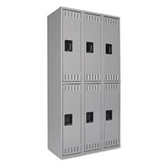Double Tier Locker, Triple Stack, 36w x 18d x 72h, Medium Gray