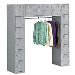 Sixteen Box Compartments & Coat Bar, 72w x 18d x 72h, Medium Gray