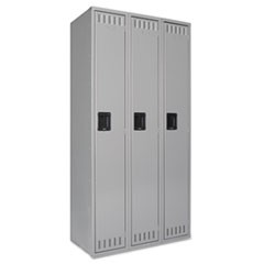 Single Tier Locker, Three Units, 36w x 18d x 72h, Medium Gray