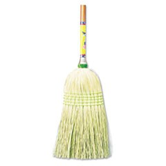 "Parlor Broom, Corn Fiber Bristles, 55"" Wood Handle, Natural, 12/Carton"